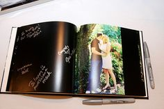 Engagement photos put into a book with empty pages for the guests to sign. I love this idea!