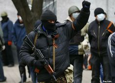 Pro-Russian gunmen seize police station & state security building in eastern Ukrainian city, April 12th 2014