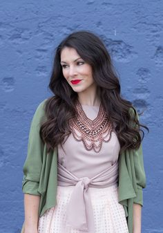 Amp up a girly ensemble with an olive green cardigan