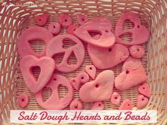 """Salt dough hearts & beads for threading, making bracelets, sorting, counting - from My Nearest And Dearest ("""",) Valentine Theme, Valentine Day Crafts, Be My Valentine, Preschool Arts And Crafts, Fun Crafts, Valentines Day Activities, Activities For Kids, Crafts For Kids To Make, Art For Kids"""