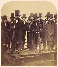 """1857 """"Robert Howlett, I. Brunel and Others Observing the """"Great Eastern"""" Launch Attempt, London, November Source: Getty Museum """" London History, British History, Old Pictures, Old Photos, Vintage Photographs, Vintage Photos, Dandy, Isambard Kingdom Brunel, Victorian London"""