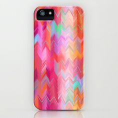 Colorful painted chevron pattern - pink, purple, yellow, orange iPhone & iPod Case by micklyn - $35.00
