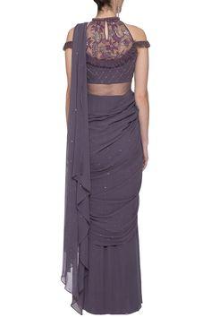 Violet embroidered draped saree gown Design by K-ANSHIKA Jaipur at Pernia's Pop Up Shop Stylish Blouse Design, Fancy Blouse Designs, Blouse Neck Designs, Indian Fashion Designers, Indian Designer Outfits, Designer Clothing, Saree Gown, Lehenga Blouse, Drape Sarees