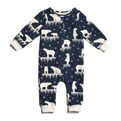 French Terry Jumpsuit - Polar Bears Midnight Blue
