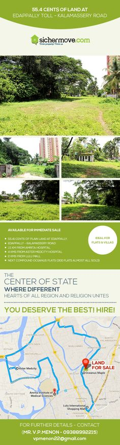 """""""DON'T BUY FROM ME UNLESS YOU ARE READY TO SUCCESS"""" Commercial Land for Sale  in Edappally,Ernakulam@ negotiable price.For more information please click on:-http://bit.ly/1ThOQU4 Buy/sell/rent Properties???....Log on to www.sichermove.com or call 9061681333/222/444 Think Property !!! Think sichermove.com !!!!"""