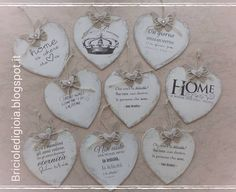 crumbs of joy: Shabby hearts to hang: playing with the transfer … – DIY Garden Design ideas - Housing Projects for World Wood Crafts, Fun Crafts, Diy And Crafts, Shabby Chic Ornaments, Heart Crafts, Valentines Day Decorations, Wooden Hearts, Vintage Pictures, Make And Sell