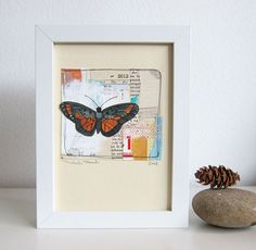 """Like how clean the background is with the butterfly """"popping"""" off the piece. Butterfly Art // Mixed Media Collage // Original Illustration // Sweets"""