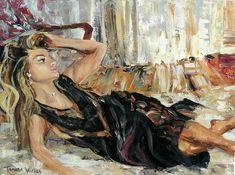 Oil painting, reclining figure, portrait, palette knife, oil on canvas Vivid Colors, Colours, Palette Knife, Portrait, Recliner, Oil On Canvas, Hand Painted, Paintings, Art