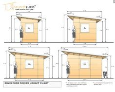 www.studio-shed.com Common dimensions for the Studio Sheds from our Signature Series - interior and exterior elevations and more.  studio | shed | storage | studio shed | modern | home office | shed ideas | backyard ideas | retreat | home gym | art studio | music studio | prefabricated | small living