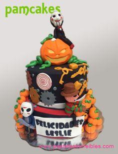 Pastel de Películas de Terror: Freddy Krueger, Saw, Halloween Freddy Krueger, Pasteles Halloween, Birthday Cake, Baking, Desserts, Food, Fondant Cakes, Deserts, Creative Cakes