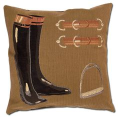 "Riding Boots Tapestry Pillow. Tapestry pillow featuring a pair of tall black ringing boots against a gold and brown herringbone design background. Fabric is hand-crafted on Jacquard looms in Belgium. 18"" x 18"""