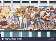Stock Photo - Haus des Lehrers detail from mosaic freeze 'Unser Leben' by Walter Womacka , Berlin, Germany Berlin, Mosaic, Germany, Stock Photos, Illustration, Painting, Image, House, Illustrations