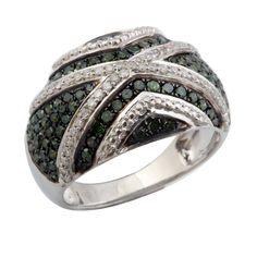 Fabulous 1.05 Carat Real Green Diamond  Gigantic Ring, 925 Sterling Silver #PrismJewel #Cluster #Birthday