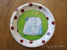 art by giosy - piatto in legno e acrilico, wooden plate and acrilic paint