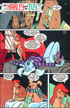 """Page from """"The Harley and the Ivy"""" in The Batman Adventures Holiday Special one-shot (January co-plot by Paul Dini; co-plot, script, pencils, inks, and colors by Ronnie Del Carmen; letters by Richard Starkings Poison Ivy Dc Comics, Harely Quinn, Harley Quinn Comic, Bruce Timm, Batman The Animated Series, Detective Comics, Marvel Dc Comics, Gotham City, Fan Art"""
