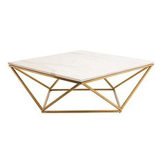 Rosalie Hollywood Regency Gold Steel White Marble Coffee Table - transitional - Coffee Tables - Kathy Kuo Home Transitional Coffee Tables, Contemporary Coffee Table, Modern Coffee Tables, Modern Table, Coffee Table Quirky, Contemporary Interior, Contemporary Design, Marble Top Coffee Table, Steel Coffee Table