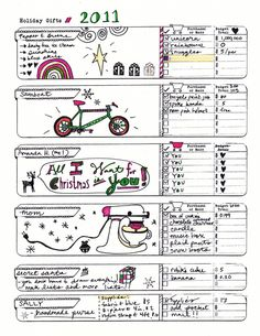 Holiday Gifts Template w/ doodles #diyplanner #planner #holiday #lists #todo #printable #free #download #gifts