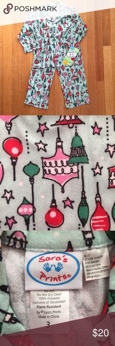 Sara's Prints (2 Piece) Girl's Christmas Pajamas N E W Christmas Ornaments Pattern Pajamas  🎄 Softest Pajamas for the Christmas Season 🎄 Size 3 🎄 Brand New Sara's Prints Pajamas Pajama Sets