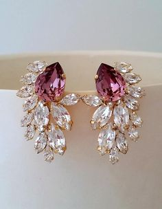 """Vintage Pink Crystals /& Rhinestones /""""S/"""" Chain w Necklace /& Pierced Earrings Set"""