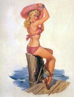 Vintage pinup jente tegninger Voksen naken