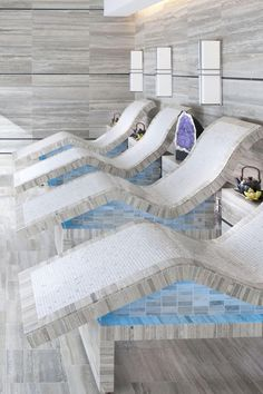 Mandarin Oriental Las Vegas Spa- best spa experience ever - these are the heated tile chairs w/views of the strip.