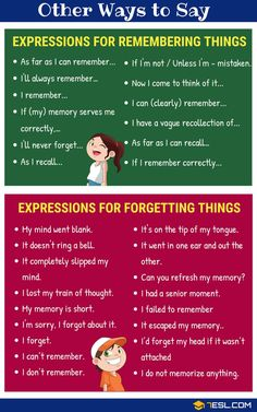 Learn English 769623023799001564 - English Expressions for Remembering and Forgetting Source by Learn English Grammar, English Writing Skills, English Language Learning, English Vocabulary Words, English Phrases, Learn English Words, English Study, English Lessons, Teaching English