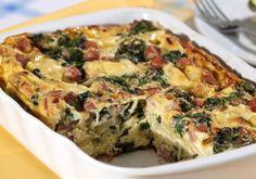 Omelete assado com presunto, batata e espinafre