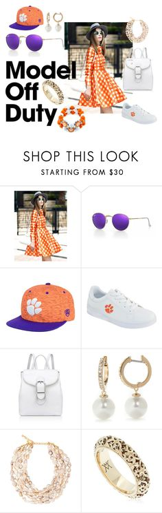 """""""Clemson"""" by moestesoh ❤ liked on Polyvore featuring Ray-Ban, Top of the World, Anne Klein, Kate Spade, Kenneth Jay Lane, Vanzi and Accessory PLAYS"""