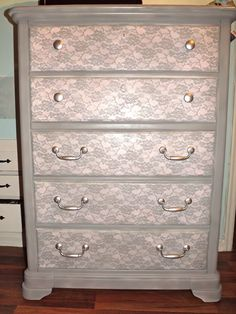 Spray paint over lace. Beautiful Dresser by DESIGN-INNOVATE-CREATE