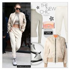 """Street Style : Gigi Hadid"" by alves-nogueira ❤ liked on Polyvore featuring Topshop, Dr. Martens, Akris and Unravel"