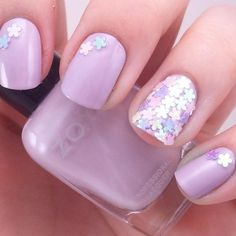 Purple decorative nail with flower
