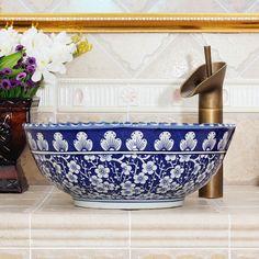 RYXW602 Ceramic blue white china vessel sink lavatory | Jingdezhen ... Bathroom Sink Design, Small Bathroom Sinks, Bathrooms, Bathroom Ideas, Modern Victorian Decor, Gothic Home Decor, Bowl Sink, Vessel Sink, Blue And White China