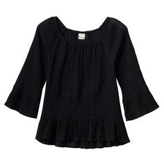 Girls 7-16 & Plus Size Mudd® Patterned Textured Bell Sleeve Peasant Top, Girl's, Size: 16 1/2, Black