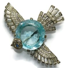 A Trifari Sterling Aquamarine Belly Rhinestone Bird Brooch 1940's.
