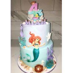 Little mermaid cake made by Liliana Da Silva from Sugarella Sweets Little Mermaid Cakes, The Little Mermaid, Superhero Birthday Cake, Cake Pictures, Cakes And More, How To Make Cake, Wedding Cakes, Sweets, Baby Shower