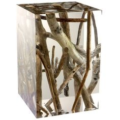Side Table in Acrylic Glass and Floated Wood, Kisimi