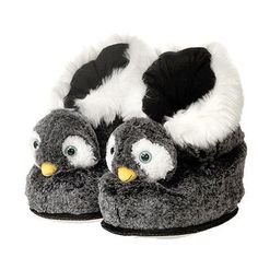 Our wonderful kids plush penguin slippers are not just adorable, but adjustable too with a velcro strap just over the ankle. The plush penguin boot is so soft, cute and comfy you may never want to tak