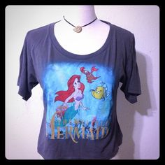 "Disney The Little Mermaid crop top T-shirt Little Mermaid crop top, in ""great"" condition;   size: XL color: grey, multiple colors. Disney Tops Crop Tops"