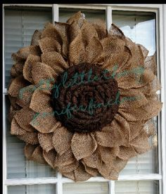Rustic burlap sunflower by JFPrettyLittleThings on Etsyhow to make a burlap sunflower wreathRemember to have the maximum quality setting selected too. It's incredibly easy that you fill in all your details because the item page has some very simple t Burlap Projects, Burlap Crafts, Wreath Crafts, Diy Wreath, Diy Projects, Wreath Ideas, Sunflower Burlap Wreaths, Burlap Flowers, Fabric Flowers