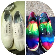Tie Dye shoes by Katie Adie using Tulip Tie Dye!