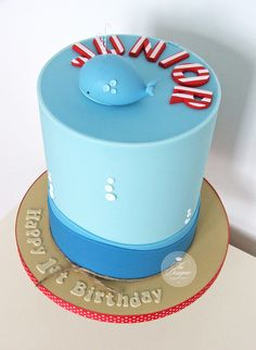 https://flic.kr/p/ugAEzB | Cute whale 1st birthday cake
