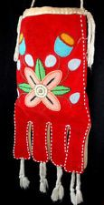 NATIVE AMERICAN BEADED OCTOPUS BAG ca. 1930-1965 excellent colorful beadwork