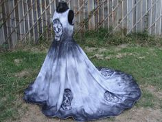Large Size 12 Hand Painted Sugar Skull Skeleton Wedding Dress Dia De Los Muertos Day Of The Dead Costume Gown Black And White