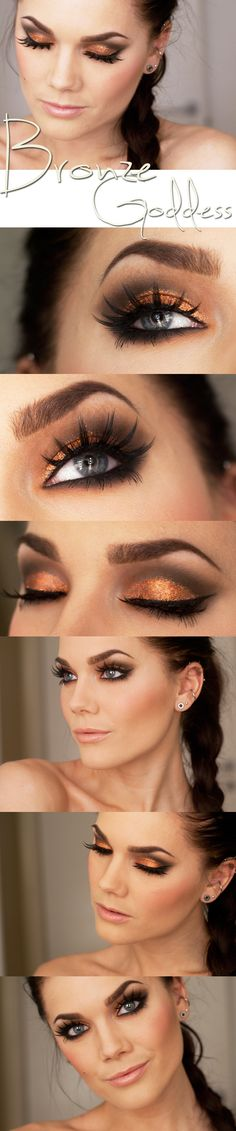 The ultimate dramatic eye with copper lids and lush eyelashes! Don't forget to try Stila's Magnificent Metals Foil Finish Eye Shadow in Comex Copper, available at Camera Ready Cosmetics. ($32.00)