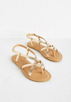 Slingback to the Beach Sandal in Gold. After spending your morning inland, you eagerly return to the shoreline - but not without these golden sandals! #gold #modcloth