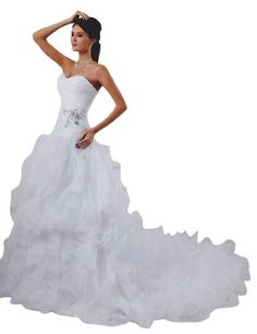 JOLLY BRIDALS Organza Beaded Sweetheart Lace Up Wedding Dress, White, Size 10