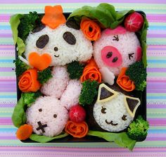 Super adorable bunny rabbit, piggy, panda bear, and kitty cat bento lunch box. #Japanese #bento #food #cute #kawaii #cooking #rice #vegetables #Asian #lunch #box #meals