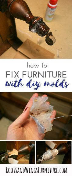 How to fix furniture with DIY molds.  Tutorial by Jenni of Roots and Wings Furniture. #rootsandwingsfurnture #diy #paintedfurniture #modernfarmhouse #farmhousedecorating