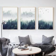Owl Mountain Feather Canvas Art Poster Motivation Print Nordic Style Home Decor