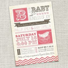 Vintage Retro Baby Shower Invitation